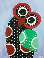 "new! ACEO original signed folk art acrylic painting ""A Spotted Owl"""