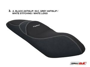 SYM Cruisym 250 - 2019 MotoK Seat cover BLACK/GREY Color - WHITE Stitching and L