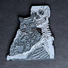New listing Skeleton Hugging Fat Cat Pin Broach Button #Lcps