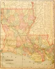 Beautiful Original 1899 Louisana Large Color Map/10x14