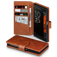 Genuine Leather Multi functional Wallet Book Case Tan For Sony Xperia XA1
