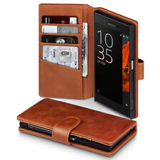 Estuche De Cuero Genuino Real Italiano cartera de negocios high-end Bronceado Sony Xperia XA1