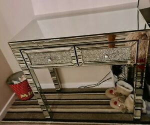 Mirrored Furniture Glass Dressing Table Drawers Diamond Console Bedroom Jewel