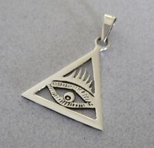 Mexican 925 Silver Protect Pyramid Cut Out TRIANGLE EVIL EYE Pendant Taxco