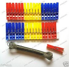 36 Clavijas De Plástico Ropa Clavijas y fuerte lavado línea 10m Set Color Duralon UK