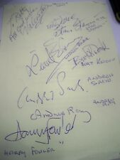 Autograph sheet 7 legends of British cinema & TV inc Kwouk Sach Leon Fowler Ray