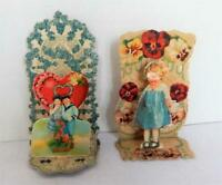 2 Vintage Fold Out Stand Up 3D Valentine Cards - Germany