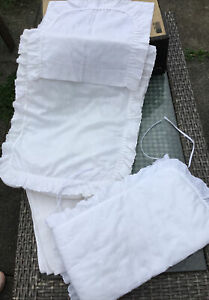 """VINTAGE """"MOTHERCARE""""~ WHITE BRODERIE ANGLAISE ROMANY BABY COT BUMPER ETC"""