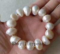 große 11-13 mm weiß Baroque Süßwasser perle Stretch-Armband 8 Zoll