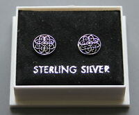 STERLING SILVER 925, STUD EARRINGS,  CELTIC ROUND, WITH BUTTERFLY BACKS,  ST 194