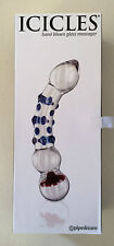 """Icicles No 18 Hand Blown Glass Dong Massager 7.75"""" Clear Blue Pipedream Dildo"""