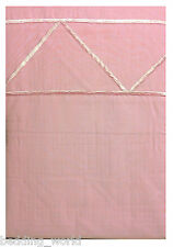 DOUBLE BED EMBROIDERED PINK DUVET COVER SET TRIANGLE BORDER GEOMETRIC