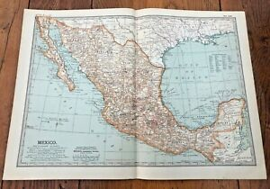 """1903 large colour fold out map titled """" mexico """""""