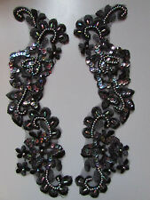 Black IrisBeaded Sequin Embroidered  Applique x 2   Sewing/Costume/Crafts/Bridal