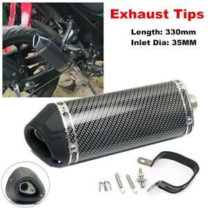 35mm In Motorcycle Racing Carbon Fiber Color Tail Exhaust Muffler Pipe w/ Clamp