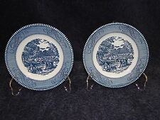 """Currier Ives Royal China Blue and White Bread Plate The Harvest 6 3/8"""" TWO"""
