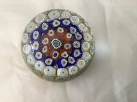 """2"""" tall millefiori vintag paperweight yellow white red blue"""