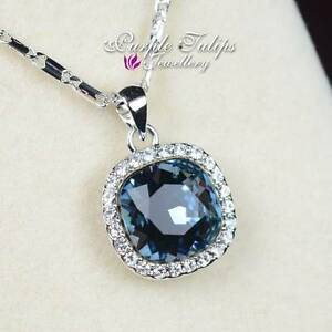 Sapphire Square Cut Made With SWAROVSKI Crystal Necklace ,18K White Gold Plated