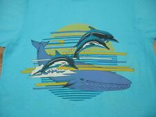 vintage 80s WHALE BEACH SUNSET T-Shirt SMALL/MED killer surf nature dolphin