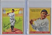 Babe Ruth 1933 Goudey Big League Chewing Gum Reprint Baseball 2 Card Lot