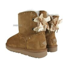 UGG Dixi Flora Perf Bow Chestnut Suede Fur Boots Womens Size 9 *NEW*