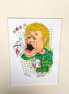 Peter Schmeichel Manchester United 16 x 8 Mounted Colour Caricature By Maddocks