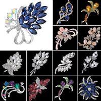 Women Sliver Rhinestone Glass Flower Bridal Brooch Pin Wedding Bouquet Jewelry