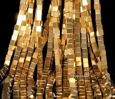"2X2MM HEMATITE GEMSTONE GOLD SQUARE CUBE 2X2MM LOOSE BEADS 16"""