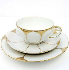Vintage Koensigszelt Porcelain White Gold Tea Plate Cup Saucer Trio