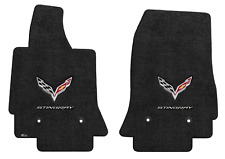 Lloyd Mats C7 Corvette Flags & Stingray Word Ebony Floor Mats (2014-2019)