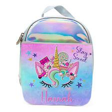 Unicorn Lunch Bag School Childrens Girls Shiny Snackbox Personalised KS210