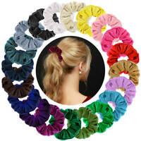 Set of 10 Velvet Hair Scrunchies Elastic Scrunchy Bobbles Ponytail Bands Holder