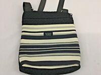 "Madison Handbag Small Messenger Cross body Black White Striped 9"" x 8"""