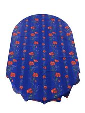 French Provencal Coated Cotton Tablecloth Poppies Lavender  Blue France 61X118