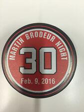 MARTIN BRODEUR #30 Jersey Retirement Night Puck NJ New Jersey Devils 2/9