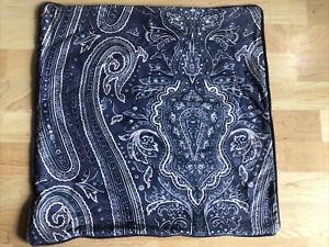 """Ralph Lauren Putney Paisley Blue White Pillow Cover Velvet Piping Edge Zip 20"""""""