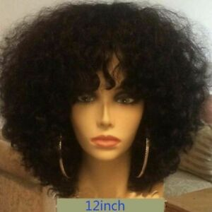 Brazilian Kinky Curly Lace Front Wig with Bangs Glueless Human Hair Curly Wig