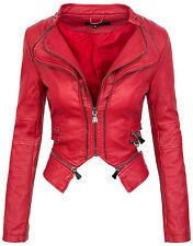 Ladies biker jacket between-seasons faux leather look 36 38 40 42 D-212
