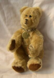 """CM Bear 10"""" Collectible Mohair Fully Jointed """"Bare Bear"""" Necklace Rare"""