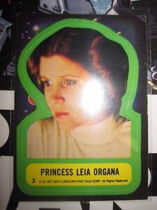 STAR WARS VINTAGE CARD TOPPS STICKERS PRINCESS LEIA ORGANA 2 1977 SERIE 1 USED