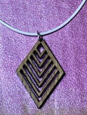 Laser cut Oak Wooden pendant on waxed Red cotton cord necklace Free P&P