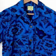 Vtg Ui Maikai Aloha Shirt Hawaiian Islands Fish Hibiscus Airplanes Sz M
