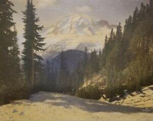 Asahel Curtis 8x10 Hand Tinted Photo, Mt. Rainier from Tatoosh 1921.