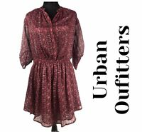 Urban Outfitters staring at stars Small semi Sheer lined burgundy button Dress