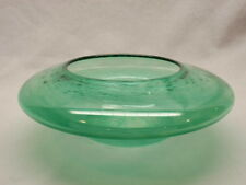 Studio Art Glass Bowl Vase Green Space Ship Signed Fitz McManus Satin Base