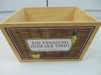 Vintage Store Display Wooden Box for Towels Go Fishing Flour Sack Mary Thompson