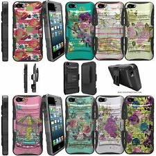 For iPhone 5 | 5s | iPhone SE Shockproof Dual Layer + Stand Holster Case Flowers