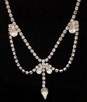 "Vtg Silver Tone Rhinestone Pendant Necklace Signed KARU 15"" Drop Safety Chain"