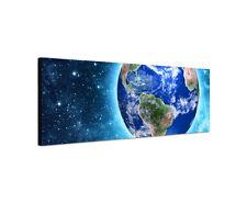 120x40cm Wandbild Blauer Planet Erde Kosmos Weltraum Sterne Leinwand Sinus Art