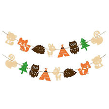 jungle animal banner cartoon forest hedgehog squirrel fox garland party decor HF